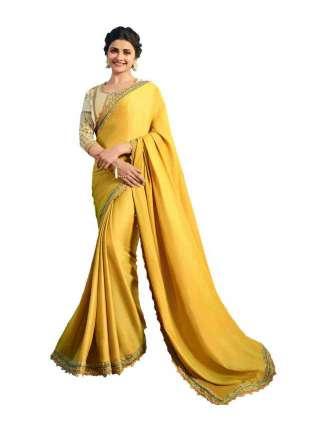 Yellow Rangoli Silk Saree With Unstitched Banglory Silk Blouse - NetrSari457