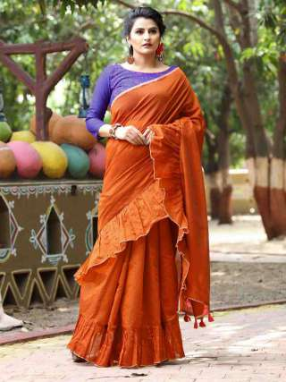 Earthy Rust Orange Ruffled Cotton Saree