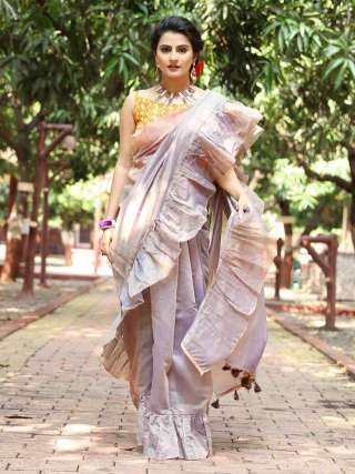 Pretty Light Grey Cotton Saree with Mustard Blouse