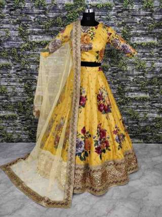 Yellow-Maroon Heavy Satin Silk Digital Print With Heavy Embroidery Work And Dupatta Set