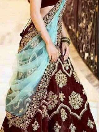 Maroon Colored Tapeta Velvet Silk Embroidery Work Lehenga Choli With Duptta Set