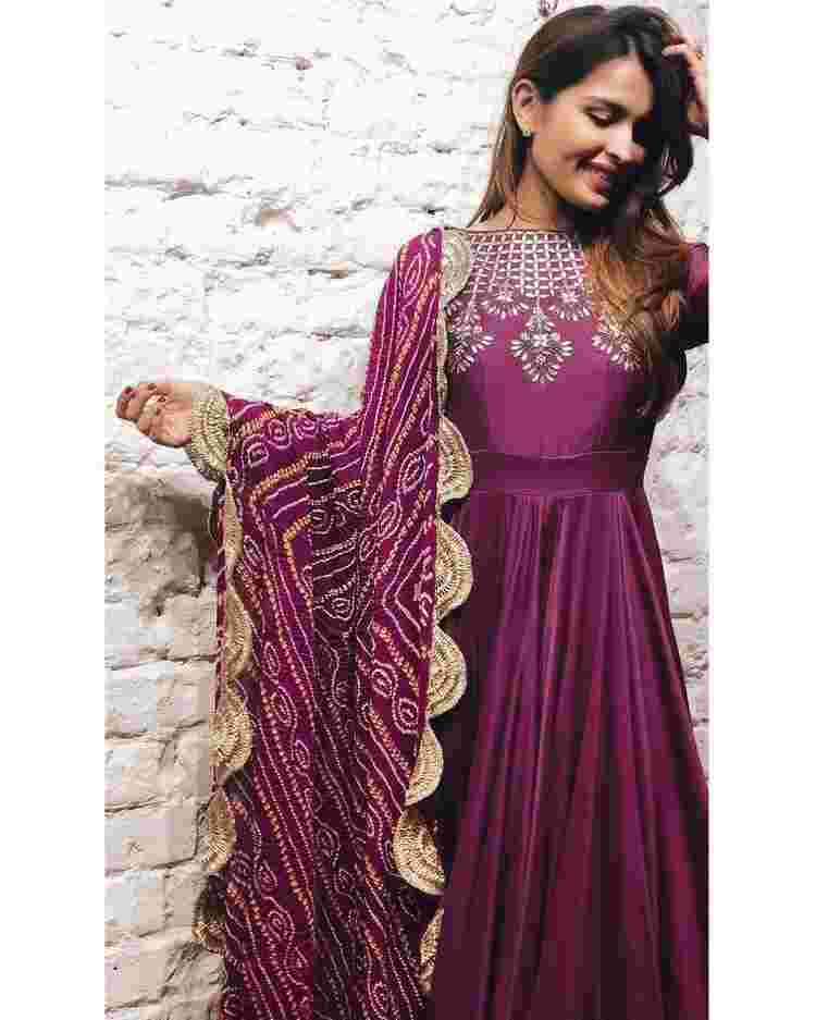 Purple Colored Party Wear Taffeta satin Embroidery Gown With Silk Dupatta