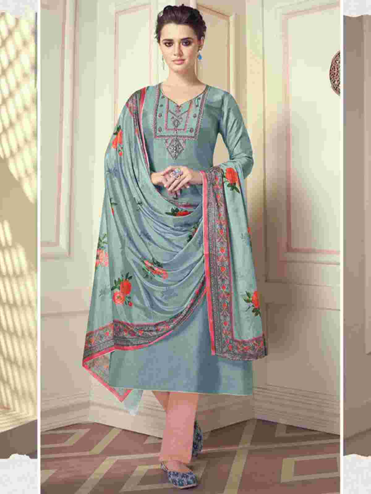 Charming Teal Blue Shade Partywear Embroidered Silk Suit