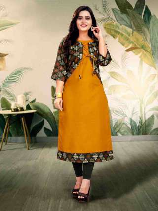 Mustard Yellow Digital Print With Dori Pattern Ruby Cotton Kurta With Jacket