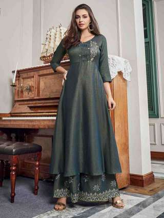 Gorgeous Dark Grey Colored Slub Cotton Embroidered Kurti-Palazzo Set