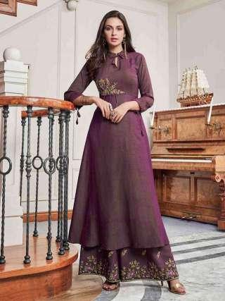 Dazzling Purple Colored Slub Cotton Embroidered Kurti-Palazzo Set
