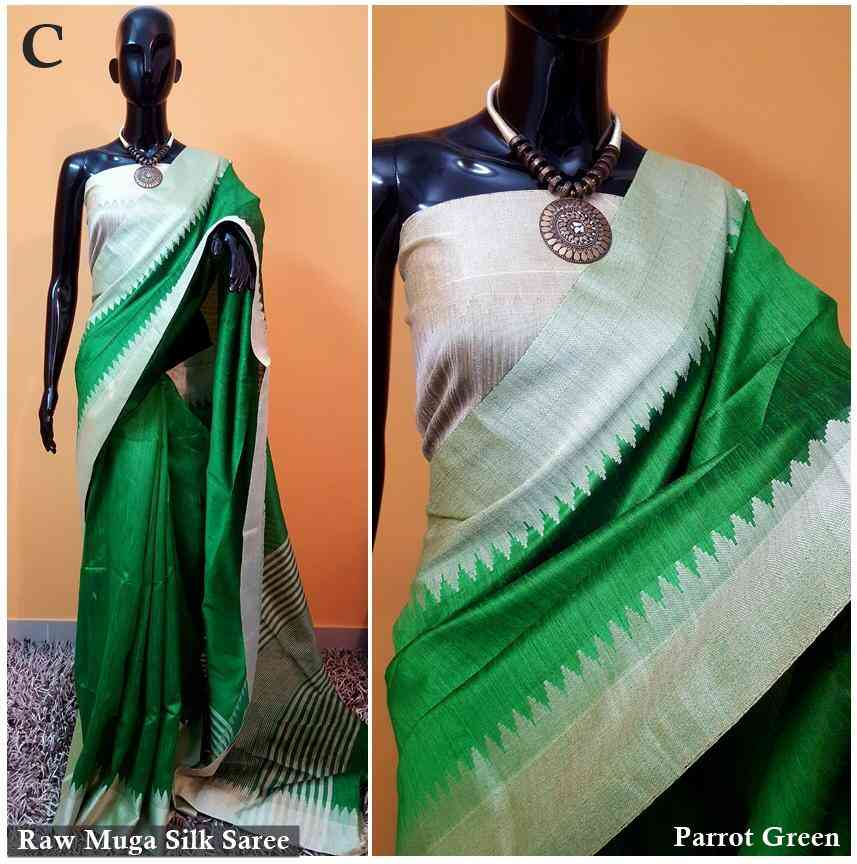 Green With Silver Jaquard Cotton Silk Border Saree  30""