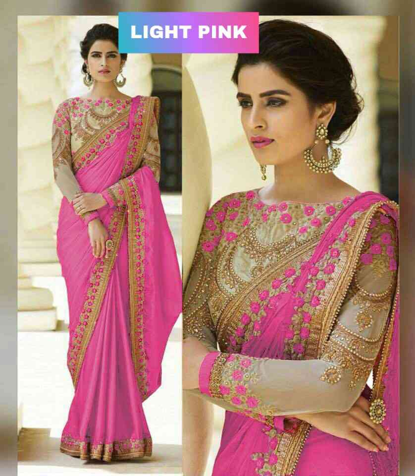 LFDARKPINK Party Wear Rangoli silk saree with embroidery cut work less  DIAMOND  30""
