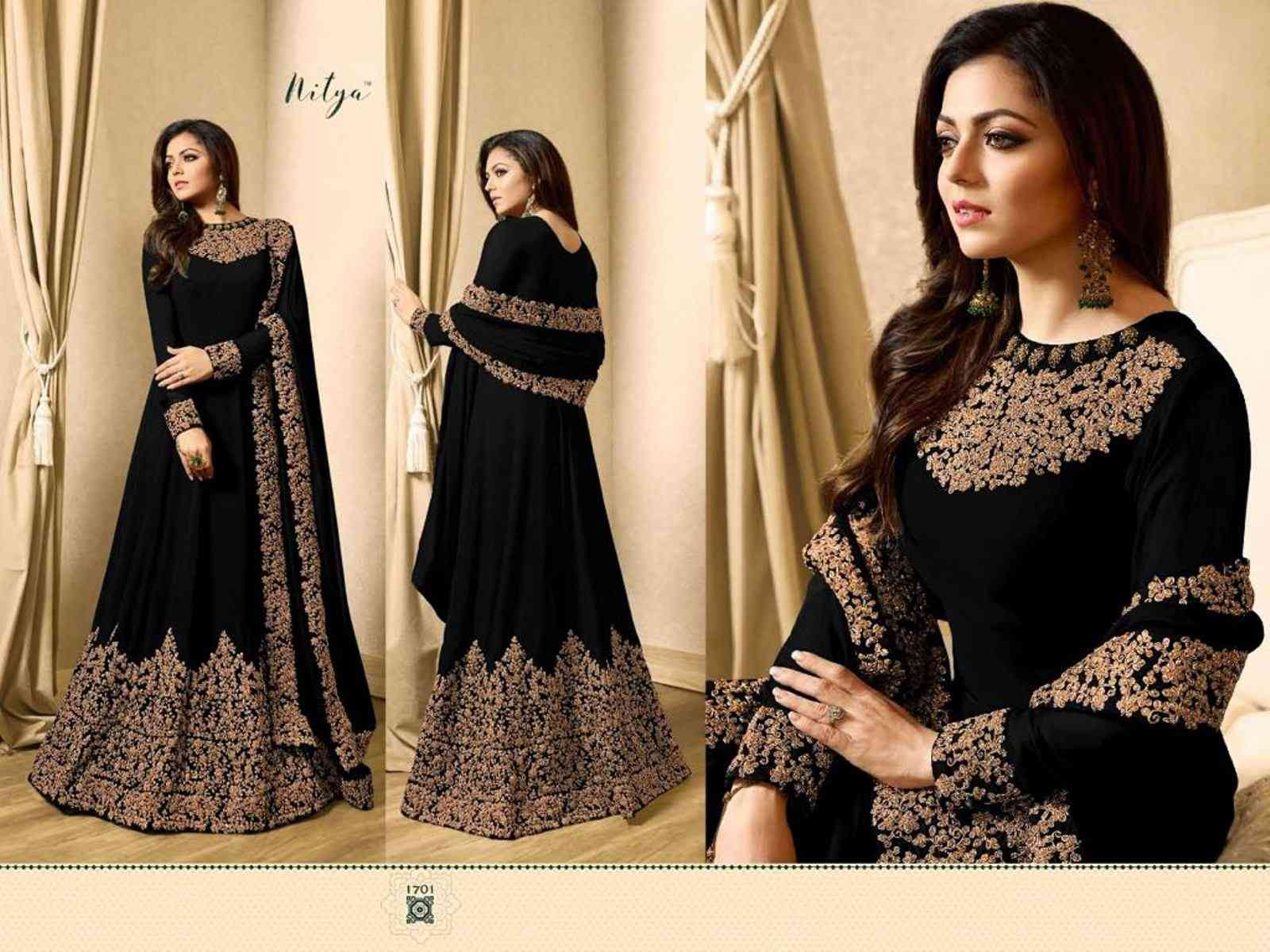 MF BLACK EMBROIDERED GEORGETTE SALWAR WITH DUPATTA SEMI STITCHED