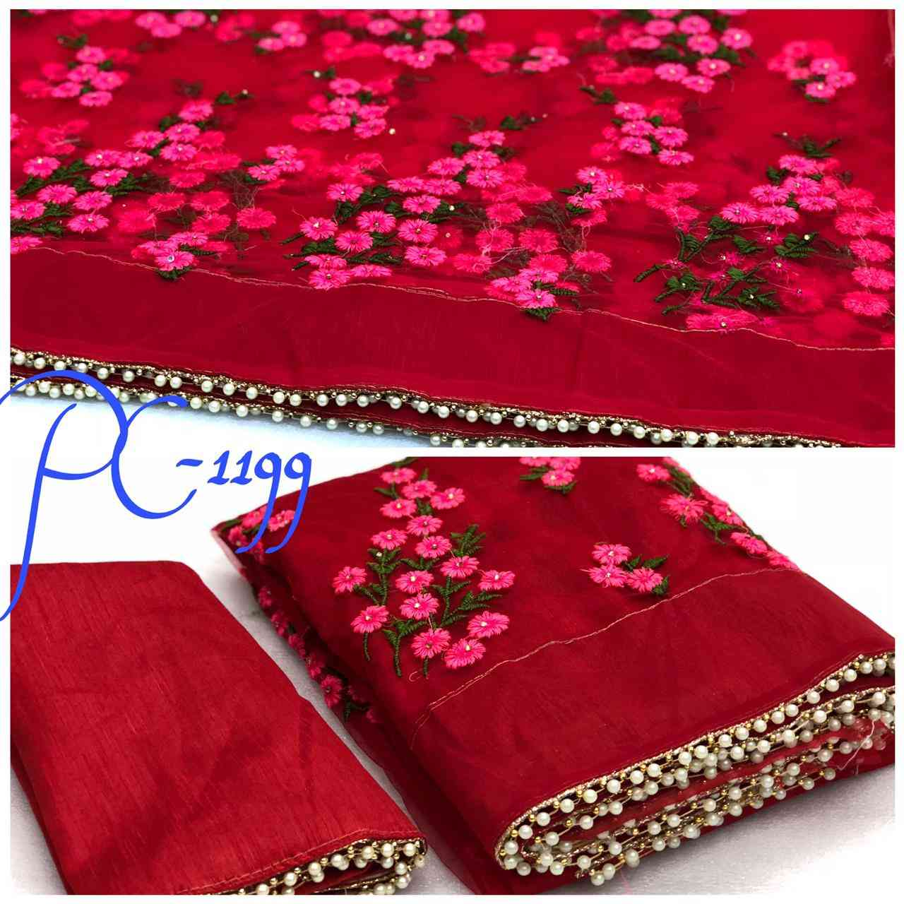 Red Color Net Self Designed  Embroidered Traditional Saree PC-1199 RED