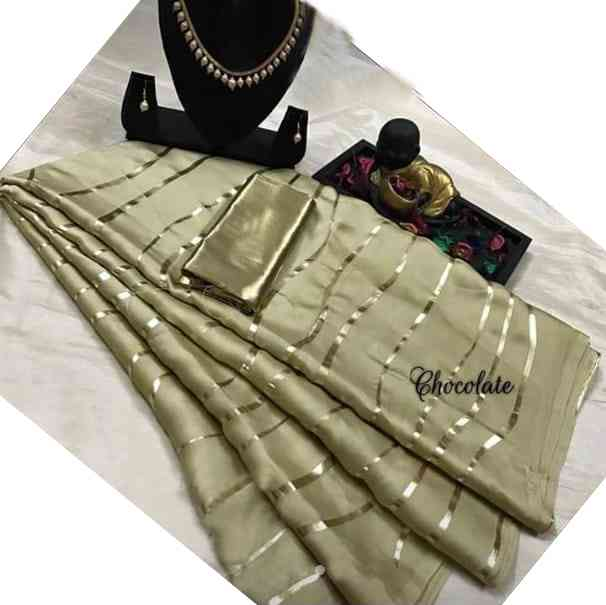 """Beige Golden Foil Printed On Satin  Fabric with Golden Plain Blouse Sarees   30"""""""