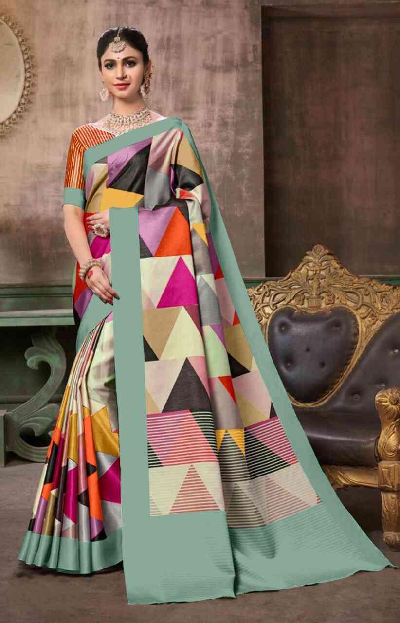Silky Multicolored Partywear Sarees