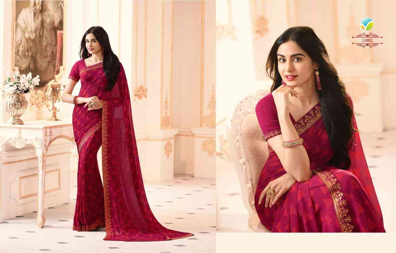 """MF Magenta Women's Georgette Saree With Jaquard Lace Border   30"""""""