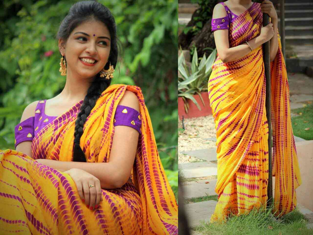 Orange Color Georgette Printed Traditional Saree  30""