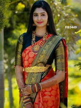 Dazzling Red Colored Soft Silk Saree - FB3449-Z