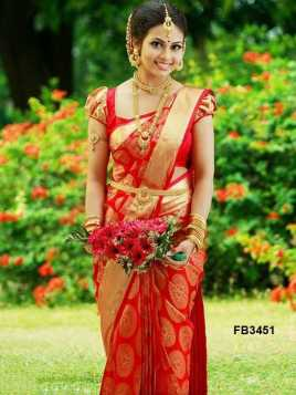 Classic Red Colored Soft Silk Saree - FB3451-Z