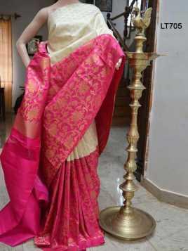 Poly Silk Pink Saree - LT705