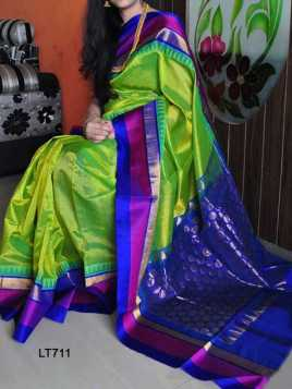 Poly Silk Green Saree - LT711  30""