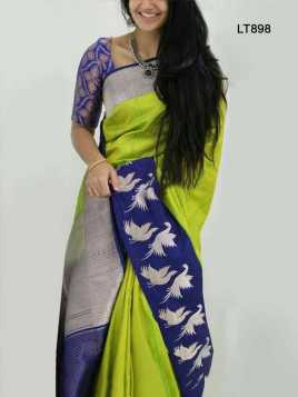 Poly Silk Green Saree - LT898