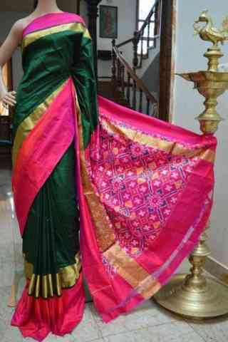 Sizzling Green n Pink Color Soft Silk Designer Sarees - SB724