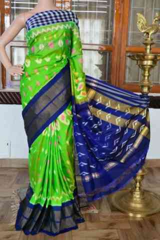 Modish Green n Blue Color  Soft Silk Saree - SB834