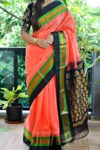 Divine Peach Color Soft Silk Saree - SB843