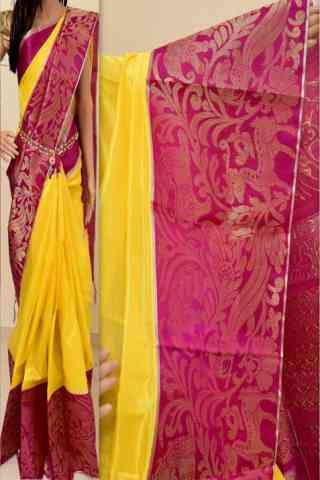 Glammrous Yellow Color Soft Silk Saree - SB862  30""