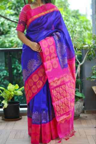 Fashionable Blue  Color Soft Silk Saree - SB871  30""
