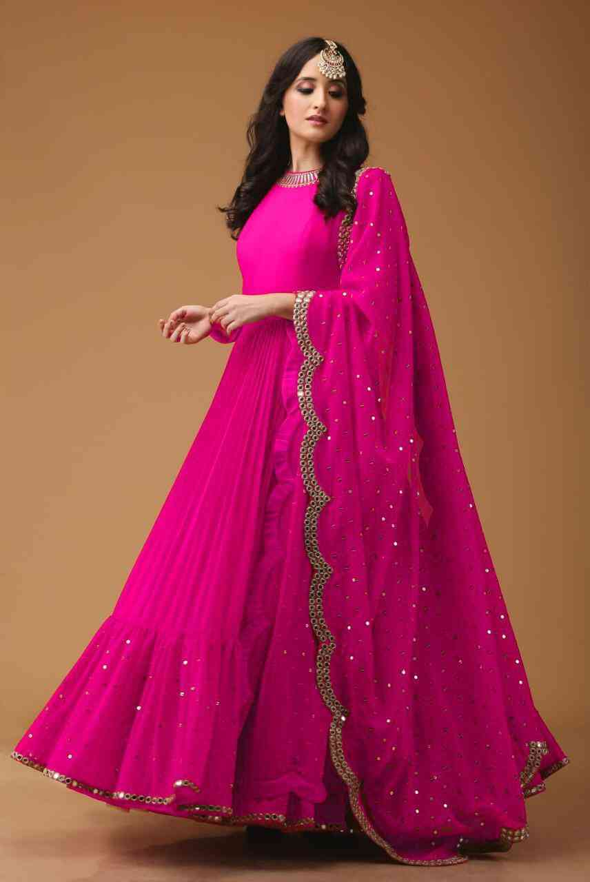 Georgette Fabric Mirror Work Pink Party Wear Anarkali Suit With Dupatta - AS1004