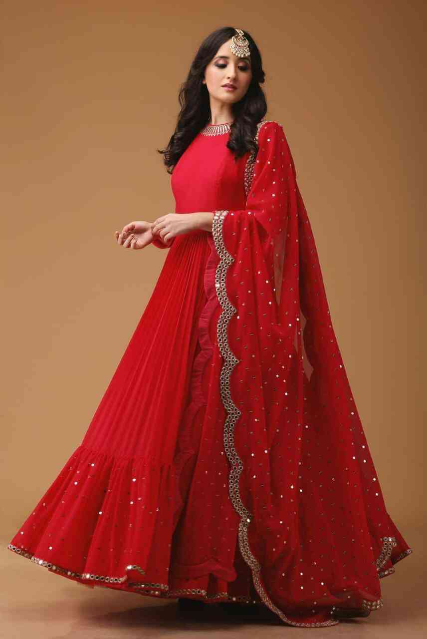 Georgette Fabric Mirror Work Red Party Wear Anarkali Suit With Dupatta - AS1005