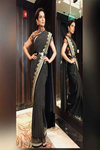 Elegant Black Color Cotton Silk Saree With Blouse - BLKANGNA