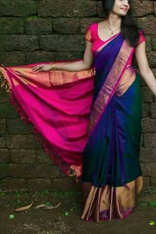 Designer Blue Colored Soft Silk Saree - CD101