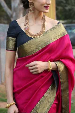 Mesmerising Pink Colored Soft Silk Saree - CD113  30""