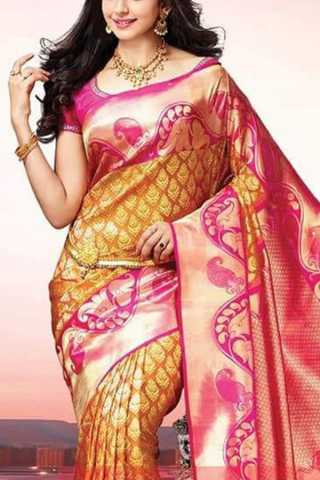 Lovely Golden Yellow Colored Soft Silk Saree - CD132