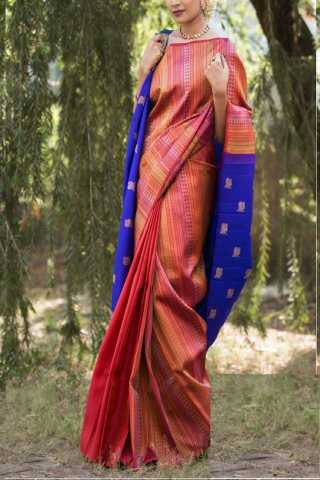 Admirable Pink-Blue Colored Soft Silk Saree - CD140  30""