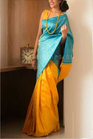 Epitome Blue-Yellow Colored Soft Silk Saree - CD144