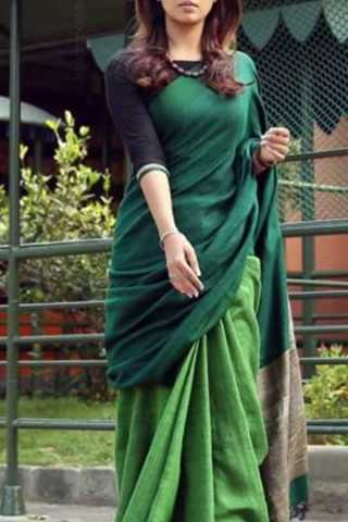 Great Green Colored Soft Silk Saree - CD171