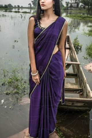 Dazzling Purple Colored Soft Silk Saree - CD172