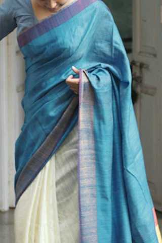 Marvellous Blue-White Colored Soft Silk Fancy Partywear Functional Saree - CD222