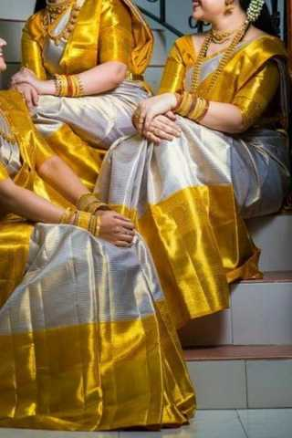 Radient Golden Yellow Colored Blouse Soft Silk Fancy Partywear Functional Saree - CD226