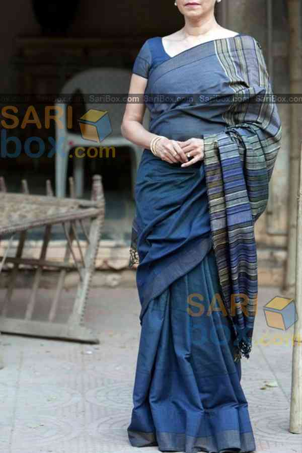 Attractive Blue Colored Designer Festive Wear Soft Silk Partywear Saree - CD239