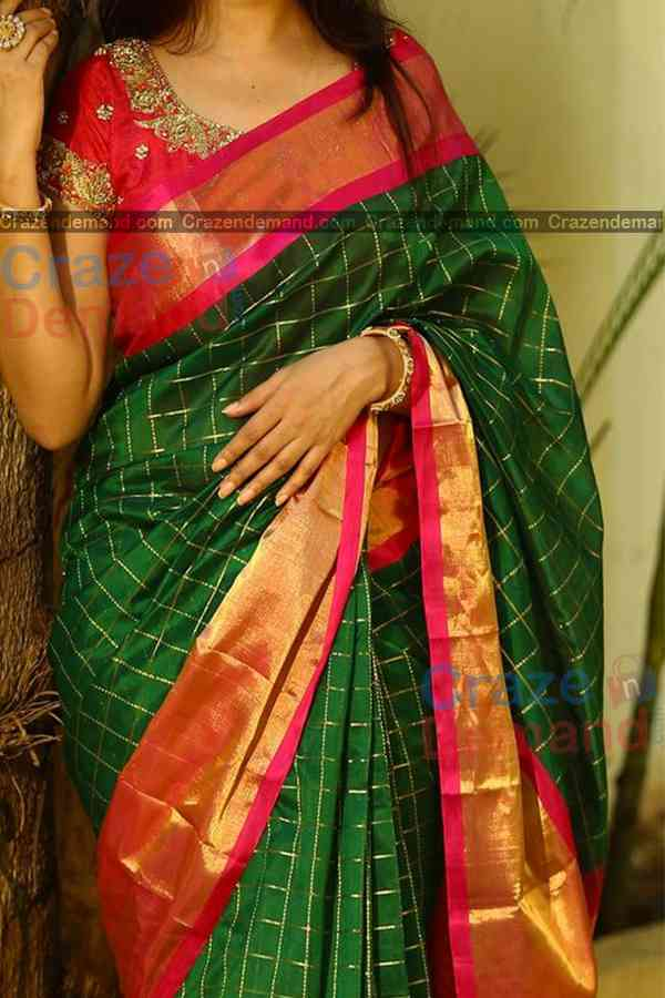 Unique Green Colored Silver Checks Pattern Karwa Chauth Special Soft Silk Festive Wear Saree - CD337