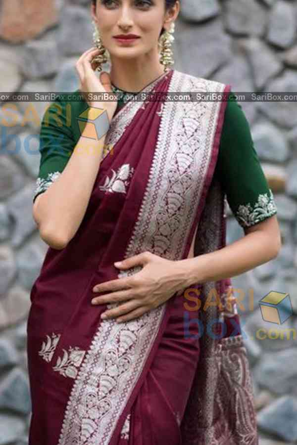 Amazing Dark Maroon Colored Karwa Chauth Special Soft Silk Festive Wear Saree - CD344  30""