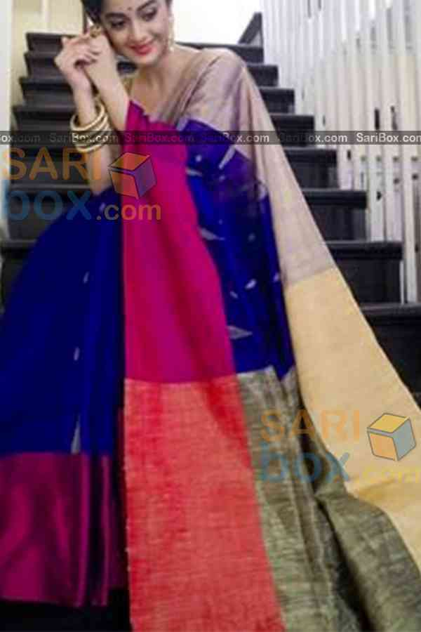 Imposing Blue Colored Karwa Chauth Special Soft Silk Festive Wear Saree - CD349