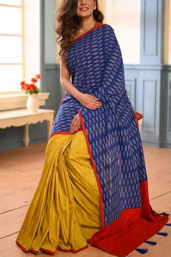 Show Stealing Blue and Mustard Soft Silk Saree  30""