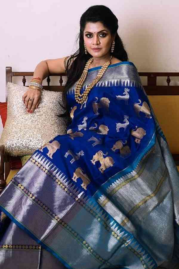 Regal Royal Blue Soft Silk Saree  30""