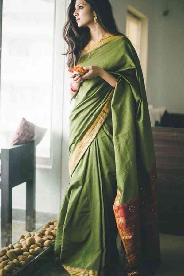 Timeless Green Soft Silk Saree  30""