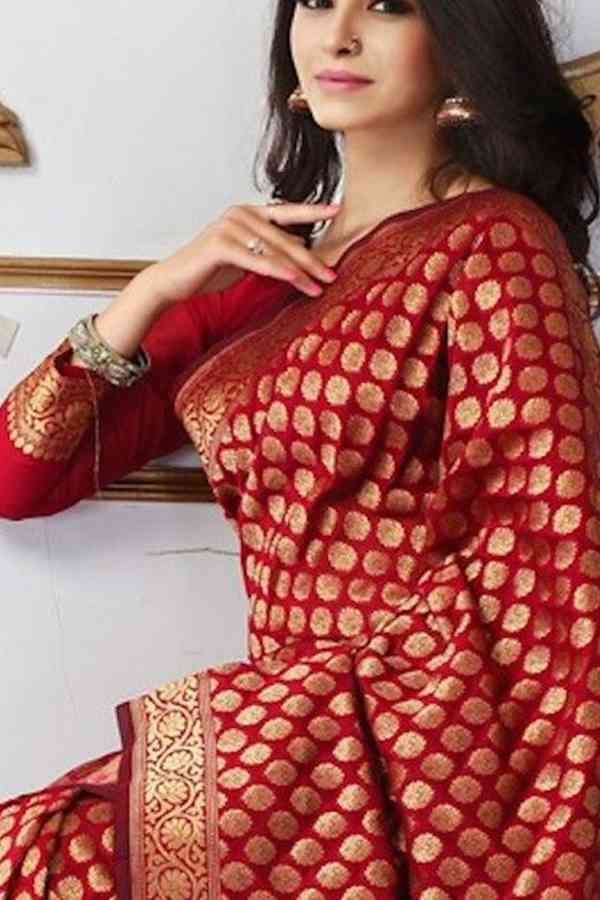 Dazzling and Festive Red Soft Silk Saree
