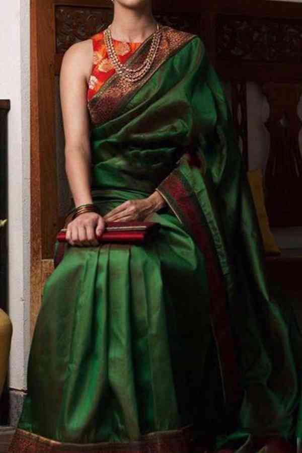 Indian Wedding Deep Green Solid Upcoming Silk Saree With Blouse