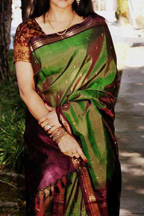 Indian Wedding Green  Marooon Lining Upcoming Silk Saree With Designer Blouse